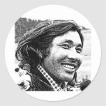 Hombre tibetano pegatina redonda
