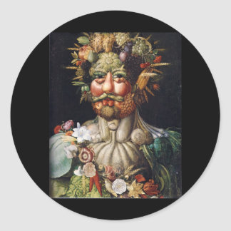 Hombre vegetal de Giuseppe Arcimboldo (Vertumnus) Etiquetas Redondas
