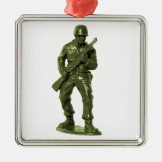 Hombre verde del ejército adorno cuadrado plateado