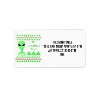 Hombre verde del extranjero LGM de la sonrisa Etiqueta De Dirección