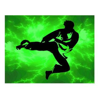 Hombre verde del relámpago de los artes marciales postal