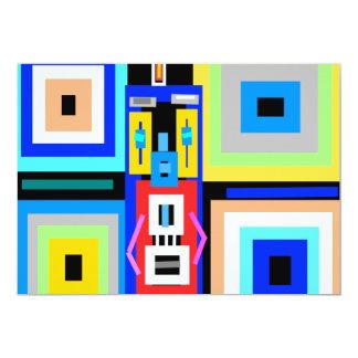 Hombre verde gris negro amarillo azul retro del invitación 12,7 x 17,8 cm