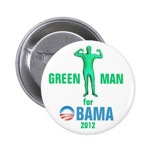 Hombre verde para Obama 2012 Pin Redondo De 2 Pulgadas