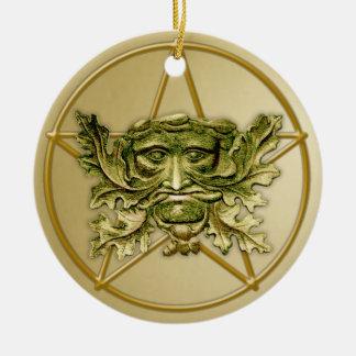 Hombre verde y Pentagram #2 - ornamento Adorno Redondo De Cerámica