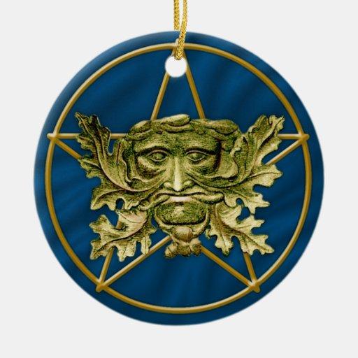Hombre verde y Pentagram #5 - ornamento Adornos De Navidad