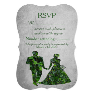 """Hombre verde y señora verde Handfasting RSVP de la Invitación 5"""" X 7"""""""