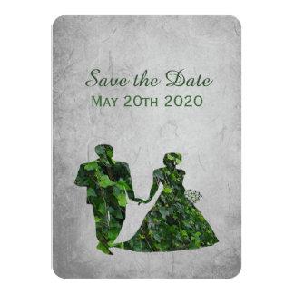 """Hombre verde y señora verde Handfasting Save la Invitación 4.5"""" X 6.25"""""""