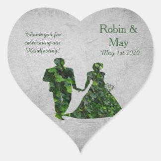 Hombre verde y señora verde Heart Thank You Pegatina En Forma De Corazón
