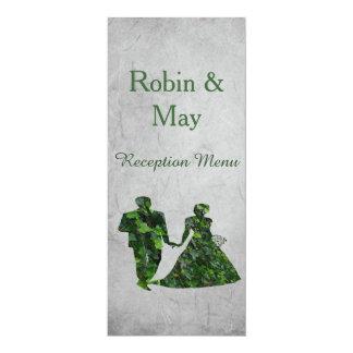 """Hombre verde y señora verde Reception Menu de la Invitación 4"""" X 9.25"""""""
