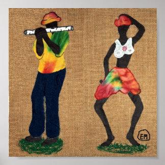 Hombre y bailarín de la flauta poster