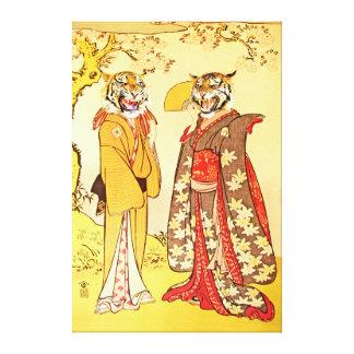 Hombre y esposa extraños y hermosos del tigre impresiones en lienzo estiradas