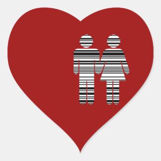 hombre y mujer del código de barras pegatina en forma de corazón