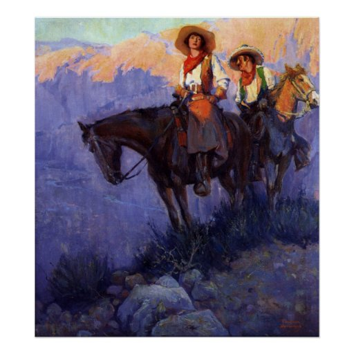Hombre y mujer en caballos, Anderson, vaqueros del Posters