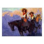 Hombre y mujer en caballos, Anderson, vaqueros del Tarjeton
