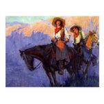 Hombre y mujer en caballos, Anderson, vaqueros del Postales