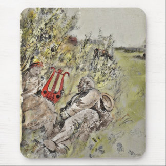 Hombre y mujer que se sientan en el pasto alfombrilla de ratón