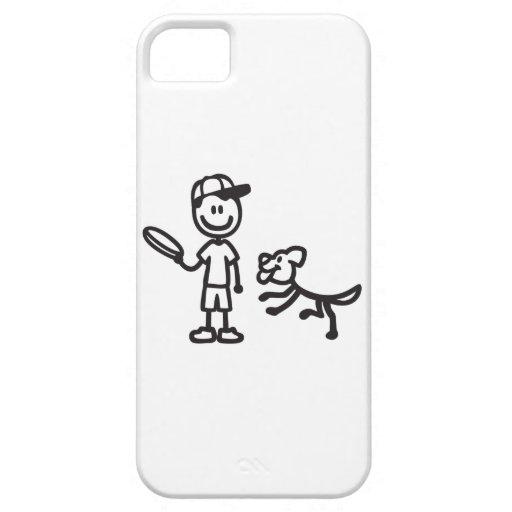 Hombre y perro del palillo que juegan el disco iPhone 5 Case-Mate coberturas