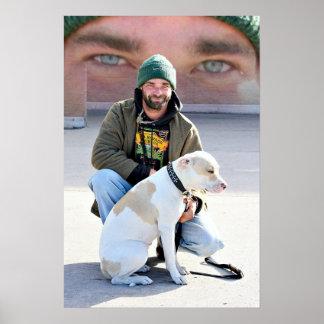 Hombre y perro sin hogar póster