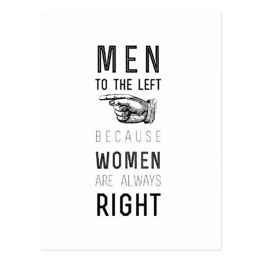 hombres a la izquierda porque las mujeres tienen s postal