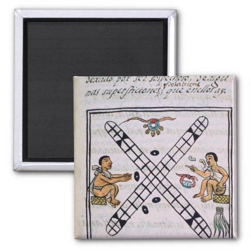 Hombres aztecas que juegan Patoli Imán Para Frigorifico