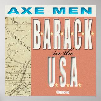 Hombres B-A-R-A-C-K del hacha en el poster de los