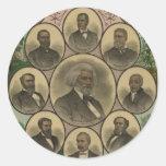 Hombres coloreados distinguidos Frederick Douglass Pegatina Redonda