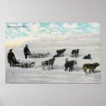 """Hombres con el """"correo rápido ártico"""" Dogsled Póster"""