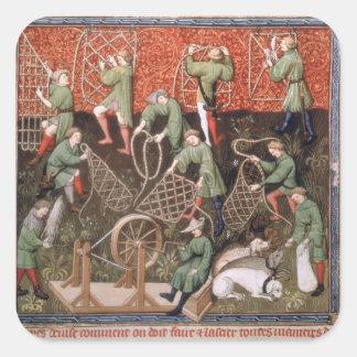 Hombres con las redes pegatina cuadrada