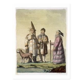 Hombres de Alaska y mujeres vestidos para pescar Postal