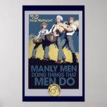 HOMBRES de hombres del humor del vintage Poster