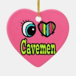 Hombres de las cavernas brillantes del amor del ornamentos de navidad