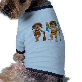 Hombres de las cavernas camiseta con mangas para perro