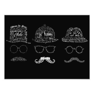 Hombres de los bigotes del vintage tipográficos fotografías