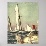 Hombres de los veleros del vintage que navegan a W Poster