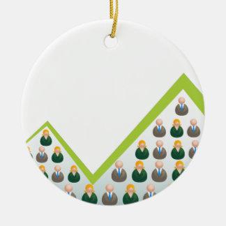 Hombres de negocios crecientes de la red adorno navideño redondo de cerámica
