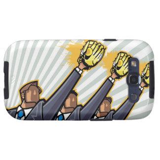 Hombres de negocios que llevan el guante de béisbo samsung galaxy SIII funda