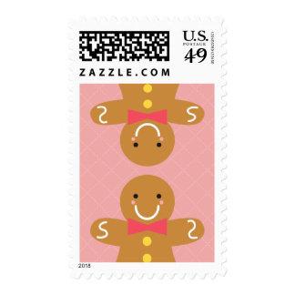 Hombres de pan de jengibre lindos y felices para timbres postales