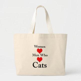 Hombres del amor de las mujeres que aman gatos bolsa tela grande