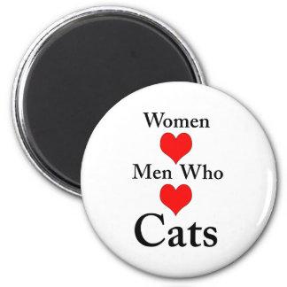 Hombres del amor de las mujeres que aman gatos imán redondo 5 cm