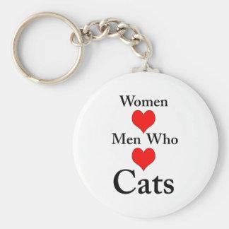 Hombres del amor de las mujeres que aman gatos llavero redondo tipo pin