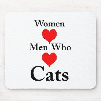 Hombres del amor de las mujeres que aman gatos mouse pad