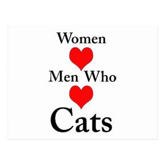 Hombres del amor de las mujeres que aman gatos postales
