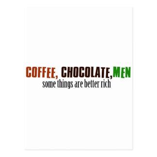 Hombres del chocolate del café postal