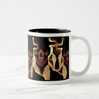 Hombres del cráneo en negro tazas de café