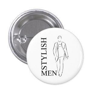 Hombres elegantes pin redondo de 1 pulgada
