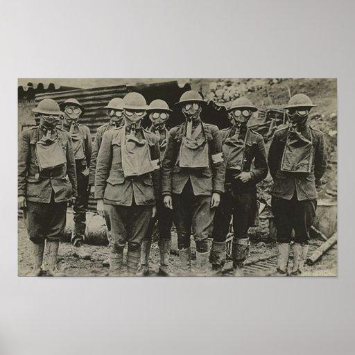 Hombres en la impresión de la careta antigás WWI Impresiones