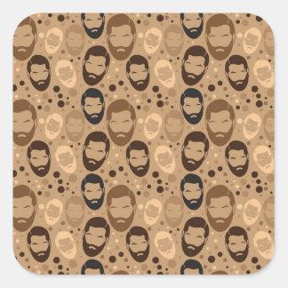 Hombres en modelo de las barbas pegatina cuadrada