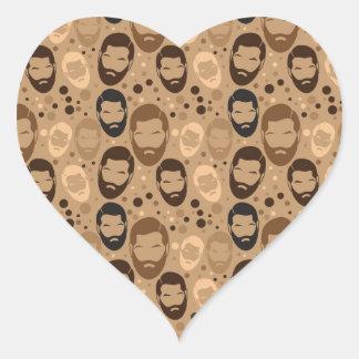 Hombres en modelo de las barbas pegatina en forma de corazón