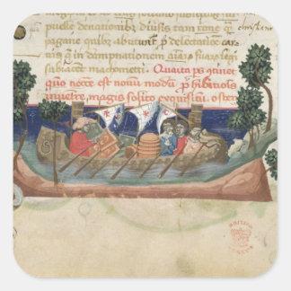 Hombres en un barco que lleva fuentes la Tierra Pegatina Cuadrada