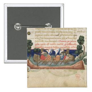 Hombres en un barco que lleva fuentes la Tierra Sa Pin Cuadrada 5 Cm